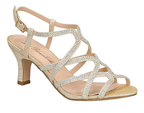 Kvinna Kristall-26 Glitter Rhinestone Låg Klack Slingback Dressy Sandal Kristall 26 Naken