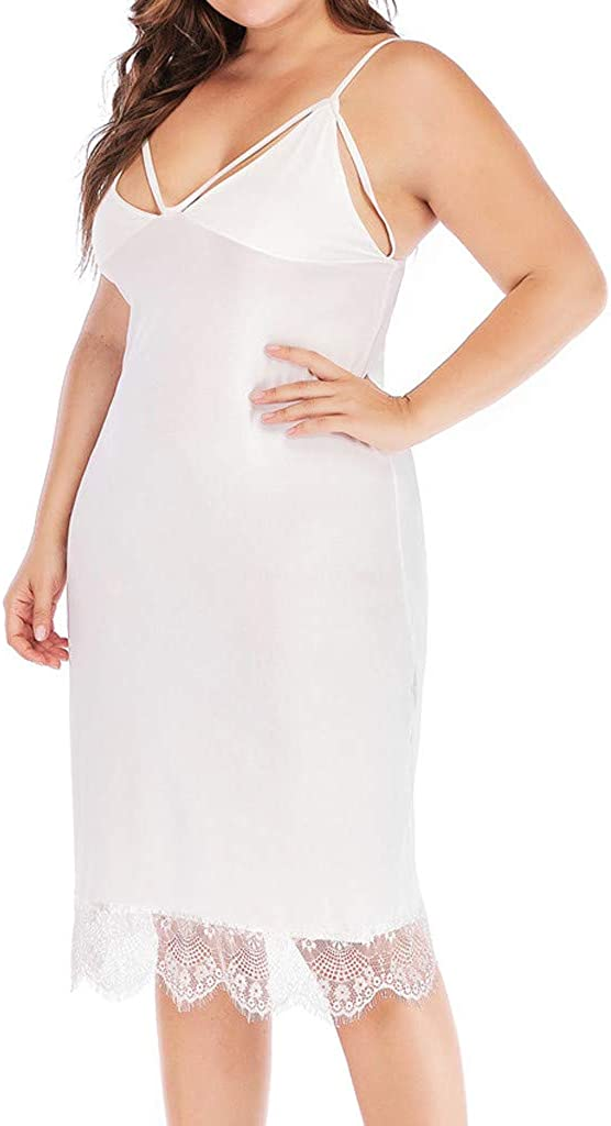 Pollyhb Womens Plus Size Loose Lace Soft Sleeveless Sleep Dress Sleepwear