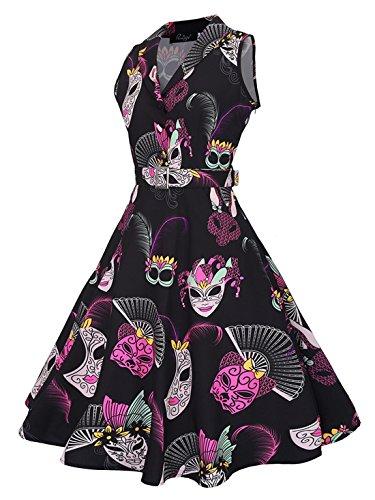 Feoya - Vestido Vintage Rockabilly Años 50 Retro Cóctel Fiesta Vestido con Cinturón Pin-up Rockabilly Dress para Mujer Negro