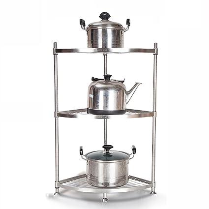 Estantes y soportes para ollas y sartenes HWF Librero de Esquina de Cocina de 3 Niveles