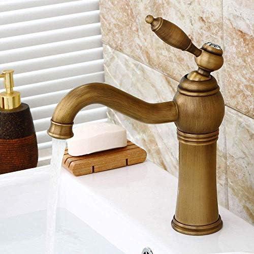 水タップ便利なヨーロッパアンティーク流域温冷水蛇口/銅素材+セラミックバルブコア/回転可能/シート直径3.5cm実用的なキッチンバスルーム用品キッチンバスルーム用品
