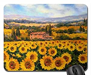 Paolo Bigazzi. Sunflowers in Tuscany Mouse Pad, Mousepad (Flowers Mouse Pad)