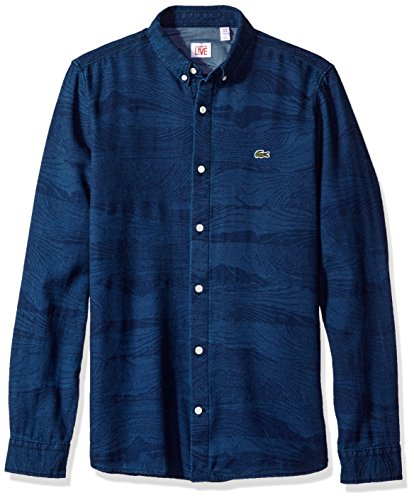 Lacoste Men's Long Sleeve Denim Wood Pattern Jaquard Woven Shirt-CH3118, Medium Rinse/Navy Blue, 40