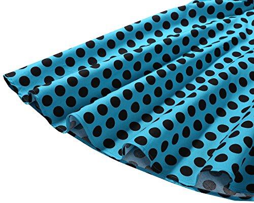 Estampado Cóctel Retro 1950 De Lazo Bdot Vestidos Bbonlinedress Blue Vintage White Rockabilly Con F4OxF
