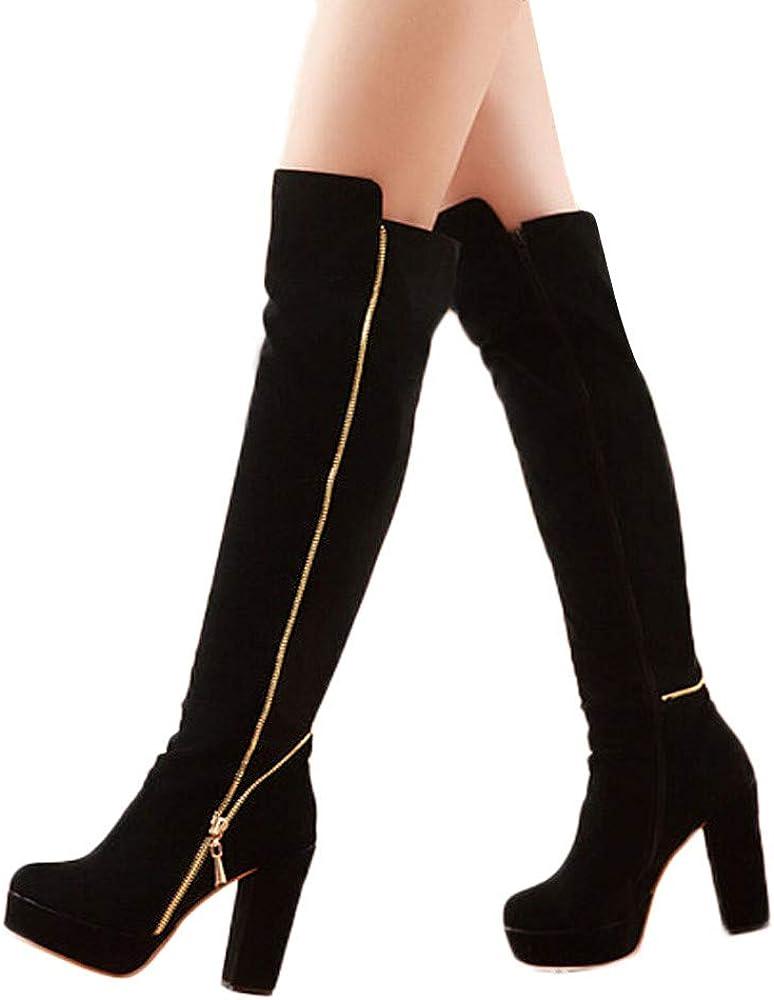 RedBrowm Round-Head Thick High-Grade Wear-Resistant Anti-Slip High-Grade Over-Knee Boots