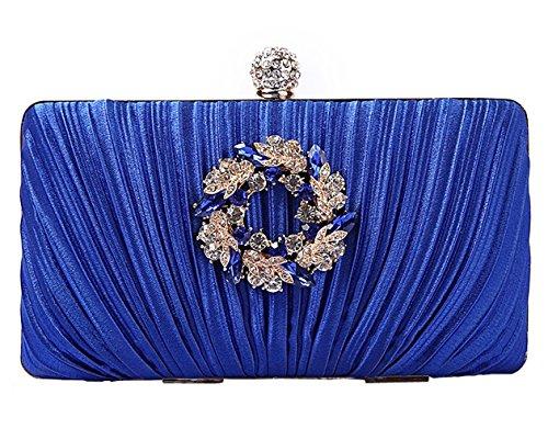 clutch wedding wallet blue 4 waistbag Evening noble Satin elegant bag Womens HopeEye pIA44