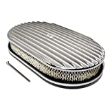 Assault Racing Products A6021-3 15 x 2 Oval Full Finned Polished Aluminum Air Cleaner Assembly Retro