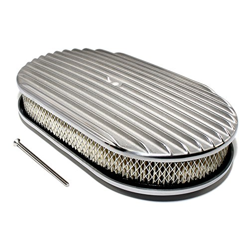 - Assault Racing Products A6021-3 15 x 2 Oval Full Finned Polished Aluminum Air Cleaner Assembly Retro