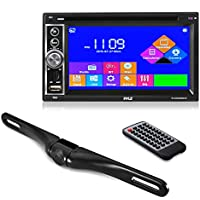Premium Pyle 6.5-Inch Double Din Car Stereo with Bluetooth Receiver Headunit, Reverse Backup Camera, Car Video, Touchscreen, Waterproof, USB/SD, Aux-In, Multimedia Disc Player, MP4/MP3 (PLDNV64BCM)