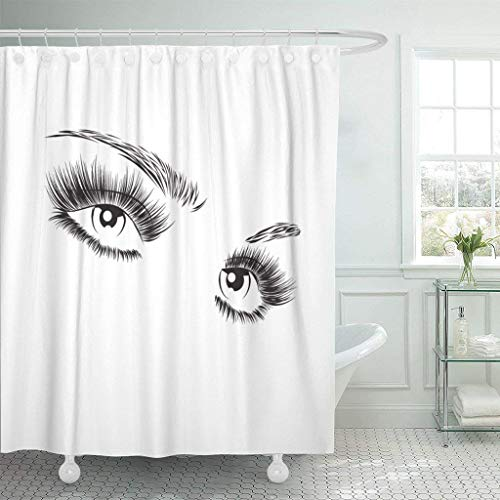 GETTOGET Black Eyelash Beautiful Eyes with Eyelashes Lash Extension White Girl Makeup Abstract Beauty Charcoal Shower Curtain Bathroom Sets Hooks,Waterproof Polyester Curtain]()