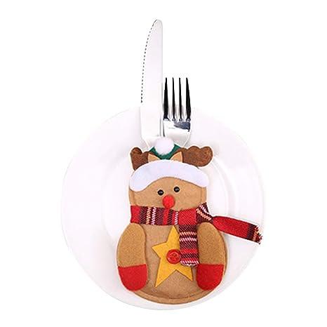 Xiton 6pcs Bolsillo sostenedor del Plato de Navidad Cubiertos de Mesa Decoraciones Establece Decoraciones de Navidad