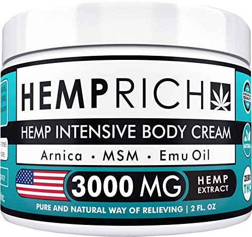 Hemp Cream - 3000 Mg - Made in USA - Back, Neck, Knee Pain Relief - Natural Hemp Oil Cream - Anti Inflammatory - Fast Sore Muscle & Joint Relief - Arnica, MSM, EMU Oil & Glucosamine - Non-GMO (Best Treatment For Arthritis Knee Pain)