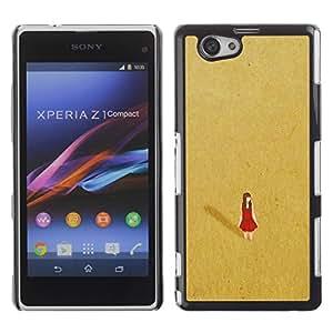 Be Good Phone Accessory // Dura Cáscara cubierta Protectora Caso Carcasa Funda de Protección para Sony Xperia Z1 Compact D5503 // Red Desert Alone Lonely Gold Dress