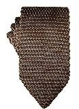 Knit Skinny Tie | Knitted Slim Tie for Men | Groomsmen Wedding Neckties (One Size, Brown)