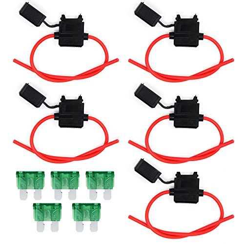 OcrFuse Holder 12Guage Waterproof Automotive Blade Fuse Holder with 30AMP Fuse 10PCS (12Guage) by Ocr (Image #6)