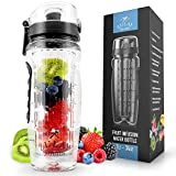 Zulay Water Bottle with Fruit Infuser for Healthy & Delicious Hydration - Flip Top Lid, Anti-Slip & BPA Free, with Infuser, Insulation Sleeve, Recipe eBook & Cleaning Brush - 34 Oz Capacity vs 32 Oz