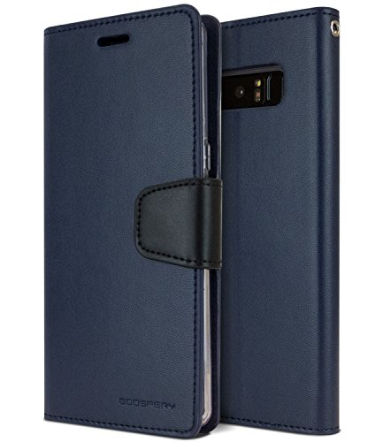 Note8 Wallet Case, [Flip Stand] MERCURY Sonata Diary [Drop Protection] Premium Soft PU Leather Case with TPU Casing [Card & Cash Slots] Classic Cover for Samsung Galaxy Note 8, Navy Blue