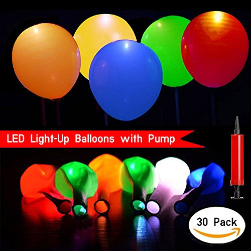 Led Light Up Balloons, 30 Pack Flashing Mixed Colors- Bonus Of Balloon Pump for Kids Party, Birthday, Anniversary And Wedding Party. Fillable with Helium And Air, Lasts 8-24 Hours
