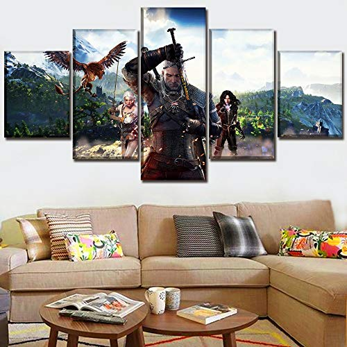 Modern Art Painting 5 Pieces Game The Witcher 3 Wild Hunt Picture On Canvas Print Poster Wall Decorative Bedroom Unique Artwork