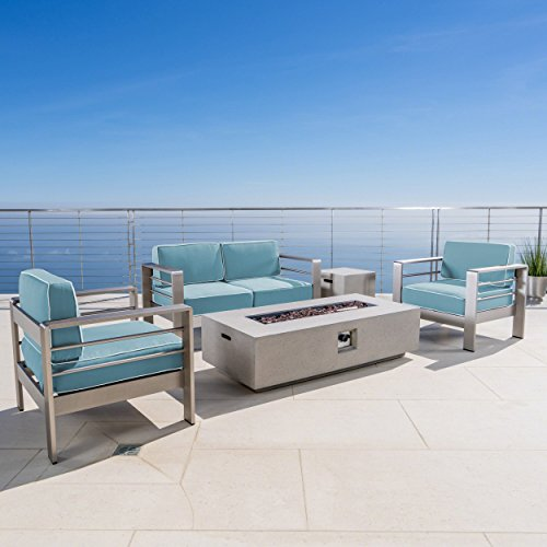 Crested Bay 5 Piece Silver Aluminum Framed Chat Set with Light Teal and White Corded Water Resistant Cushions and Light Grey Finished Rectangular Fire Pit