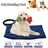 Pet Heating Pad,Lumcrissy LED indicating Dog Cat Electric Heating Pad Waterproof Adjustable Warming Mat Bed Blanket with Chew Resistant Steel Cord (11.8 X 15.7 IN, Blue)