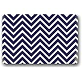 Chevron Pattern Navy Blue And White Custom Doormat Door Mat Machine Washable Rug Non Slip Mats Bathroom Kitchen Decor Area Rug 30x18 inch