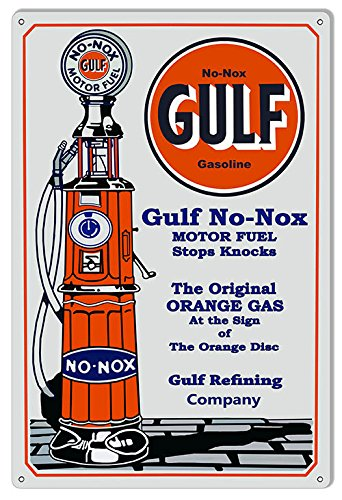 Oil Motor Reproduction - Gulf Gasoline Reproduction Motor Oil Metal Sign 12