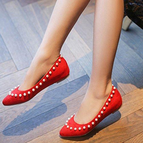 Latasa Womens Chic In Finta Pelle Scamosciata Con Perline Scarpe A Punta Slip On Rosso Pompe