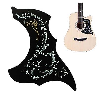 Chytaii Golpeador de Guitarra Acústica Autoadhesivo Autoadhesiva Tablero de Protección de Guitarra Pegatina de Etiqueta de Guitarra Negro PVC