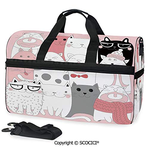 Medium Weekend Duffel Bag Cute Cartoon Kittens Collection Funny (One Size) Collection Deluxe Wheeled Duffel