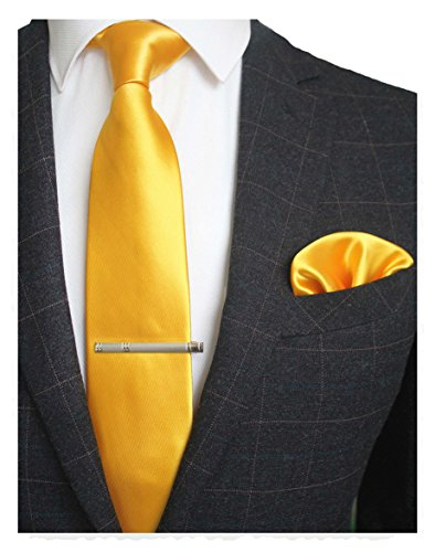 (JEMYGINS Mens Formal Yellow Neck tie and Pocket Square, Hankerchief and Tie Bar Clip Sets (1))