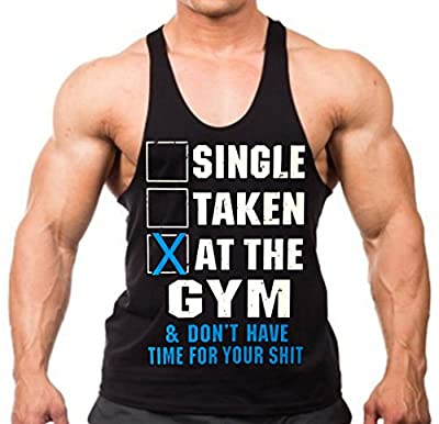 Single Taken At The Gym Stringer Workout Funny Tank Top Y Back XS-2XL