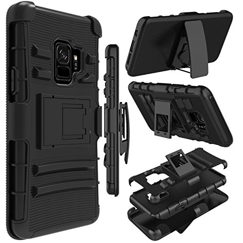 Galaxy S9 Case, Zenic Heavy Duty Shockproof Full-body Protective Hybrid Case Cover with Swivel Belt Clip and Kickstand for Samsung Galaxy S9/SM-G960U