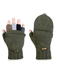 Viger Winter Wool Flip Top Gloves Flocking Warm Knitted Gloves for Men and Women (army green)