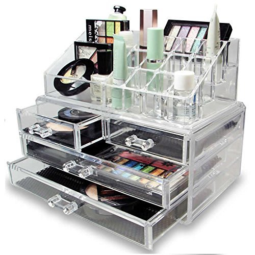 LaRoc Clear Acrylic Cosmetic Organizer with Drawers Makeup Jewelry Display Box Case