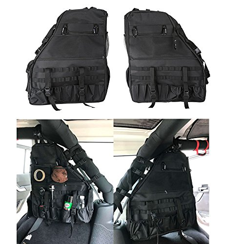 Opall 2Pcs Roll Bar Storage Bag Cargo for 07~17 Jeep Wrangler JK 4-door with Multi-Pockets & Organizers & Cargo Bag Saddlebag Tool Kits Bottle Drink Phone Tissue Gadget Holder (Saddlebag Tool Kit)