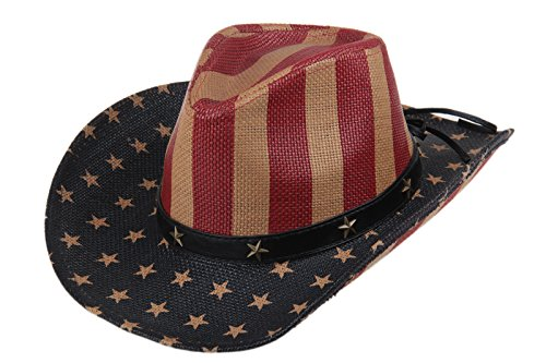 Dantiya Unisex Western American Flag Cowboy Leather Stars & Stripes Band Rodeo Hat (Antique Flag)