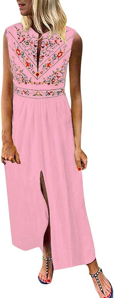 VICGREY Vestito Donna Elegante Vintage Stampa Bohemien Donne Vestito Estivo Abito Sciolto Senza Maniche Scollo A V Maxi Vestito Lino Cotone Abiti Lungo Abito da Spiaggia Donna Casual