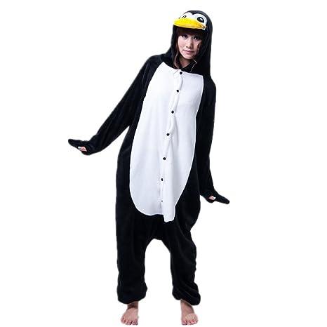 Jysport - Pijama de unicornio, unisex, con capucha de forro polar, disfraz cosplay, pingüino, large