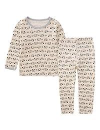 AIEOE Kids Toddler Boys Girls Pajamas Long Sleeve Soft Cotton Clothes Sleepwear