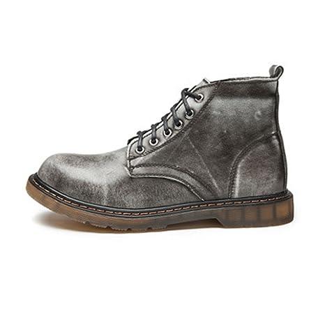 HILOTU-Zapatos de hombre Zapatos de Cuero clásicos con Cordones Oxfords Botines Altos para Caballeros