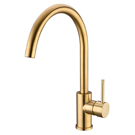 Trustmi Brushed Gold Brass 360 Degree Swivel Hot And Cold Mixer Single Handle Kitchen Sink Faucet