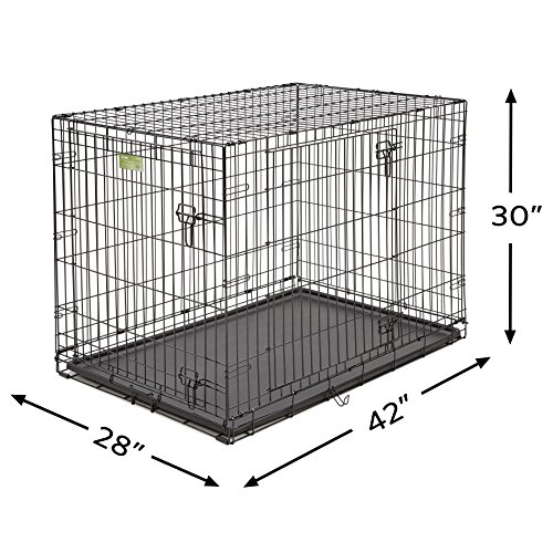 "MidWest 42"" iCrate Double Door Folding Metal Dog Crate w/ Divider Panel, Floor Protecting ""Roller"" Feet & Leak-Proof Plastic Tray; 42L x 30W x 28H Inches, Large Dog Breed"