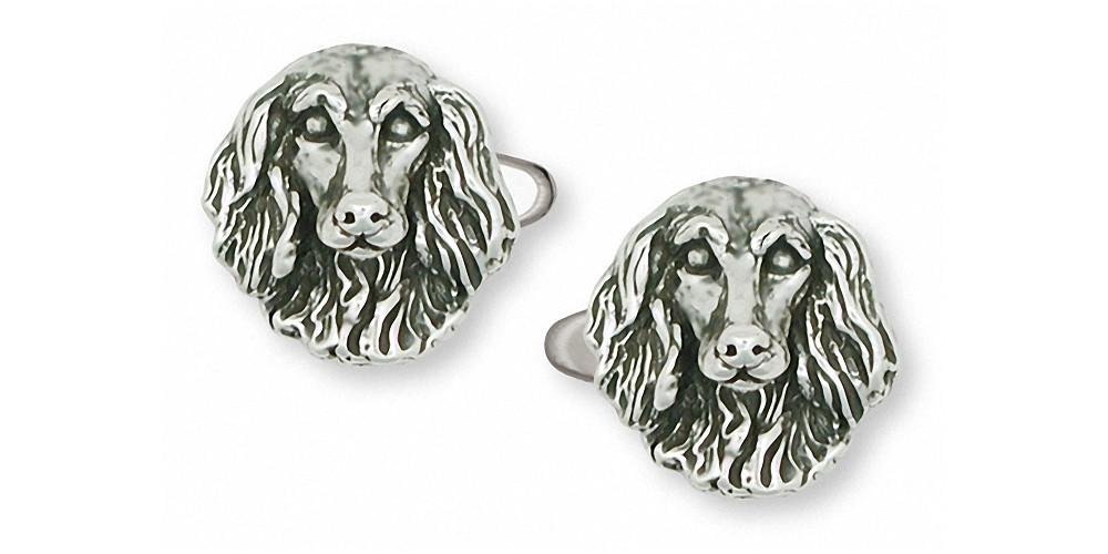 Long Hair Dachshund Jewelry Sterling Silver Long Hair Dachshund Cufflinks Handmade Dog Jewelry D037-CL
