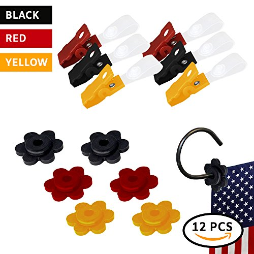 Red Stopper - Garden Flag Rubber Stopper Stops and Adjustable Anti-Wind Clips| 12 Pieces Garden Flag Accessories | Set in Red,Yellow & Black, for Small Garden Flags 12x18 inches |Pack for Garden Flag Poles Stands