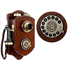 Fixed Phone Wall Hanging Antique Telephone Vintage Wood Rotary Hanging Machine, Living Room Study Retro Decoration Home Office Phone