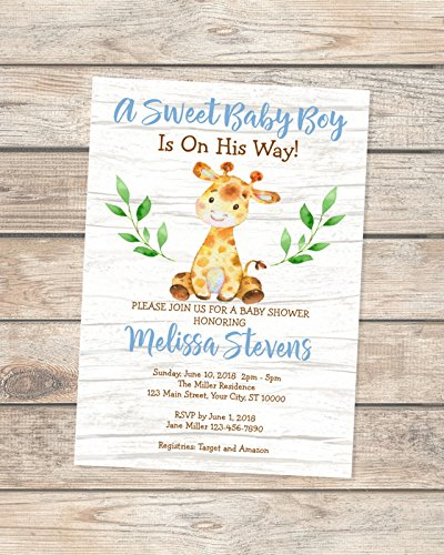 ee2bb3e41d7 Image Unavailable. Image not available for. Color  Giraffe Baby Shower  invitations ...