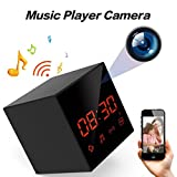 LIZVIE Wi-Fi Hidden Spy Camera Clock,Music player with Wireless Speaker,100% Invisible Lens,Enhanced Night Vision,Motion Detection,Loop Record,FM Radio,1080P Video Record,Free APP(Black Cube)