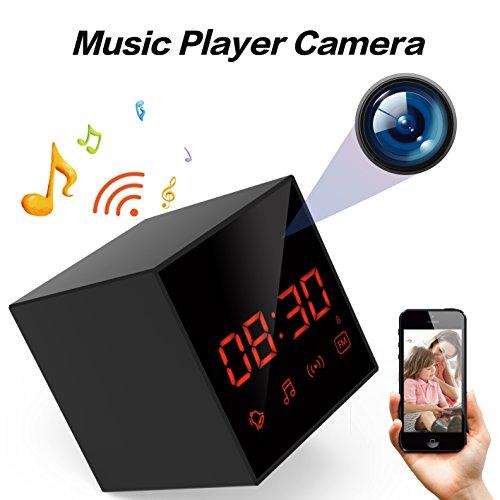 LIZVIE Wi-Fi Hidden Spy Camera Clock,Music player with Wireless Speaker,100% Invisible Lens,Enhanced Night Vision,Motion Detection,Loop Record,FM Radio,1080P Video Record,Free APP(Black Cube) by LIZVIE