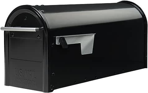 Gibraltar Mailboxes Franklin Medium Capacity Galvanized Steel Black, Post-Mount Mailbox, FM110B00